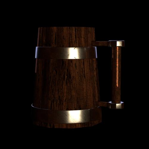 Wooden BeerCup Low Poly preview image