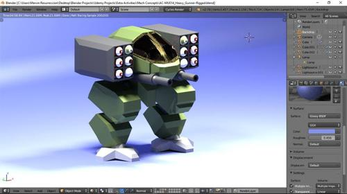 Low-Poly Crawler Mech with Armature preview image