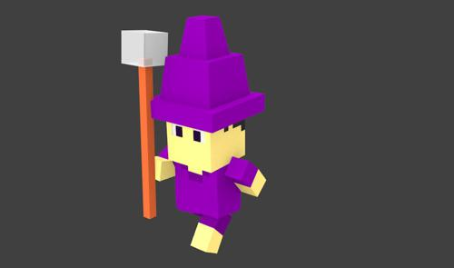 Voxel Low Poly Character + Animation for BGE preview image