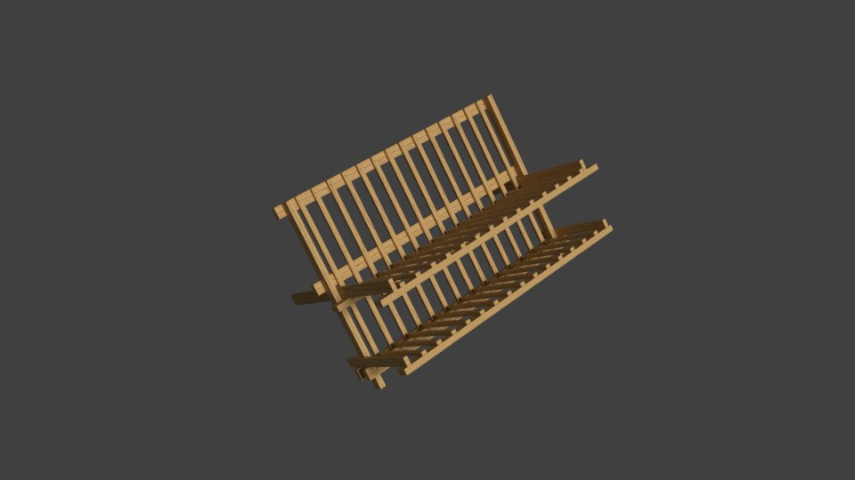 Low-poly Kitchen Wooden Drainage preview image 1