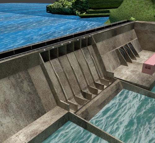 Water Dam with Roads and mountains preview image
