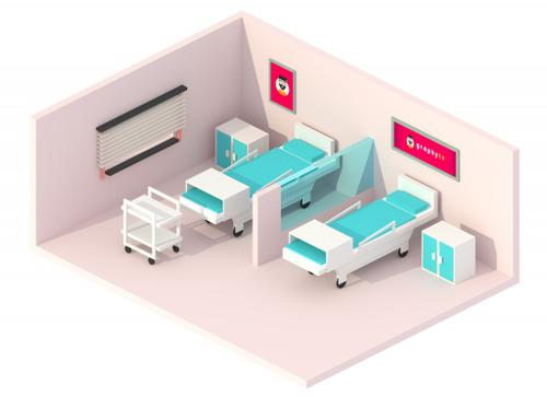 Isometric Hospital Room - graphyTV preview image