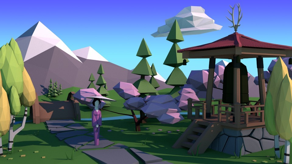 Sakura - Japanese Themed Low Poly Landscape preview image 1