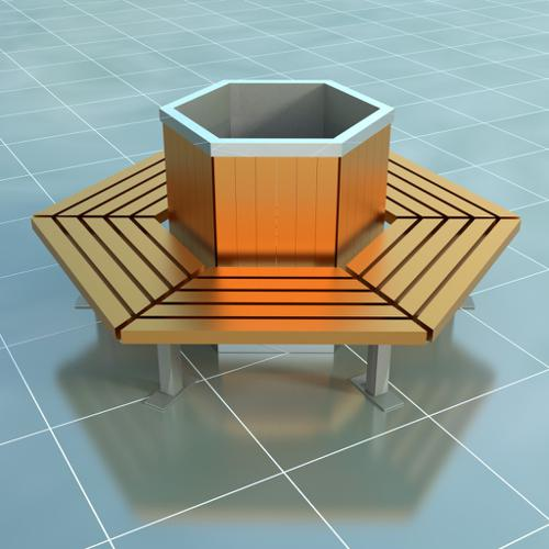 Urban hexagon bench preview image