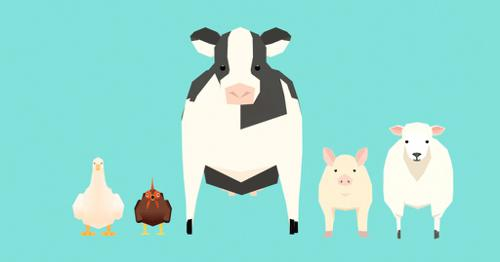 Low poly farm animals preview image