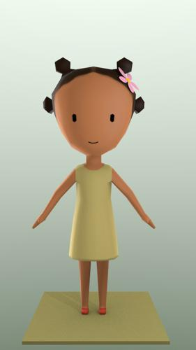 Low Poly African Girl preview image