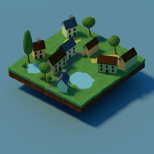 low poly small village preview image