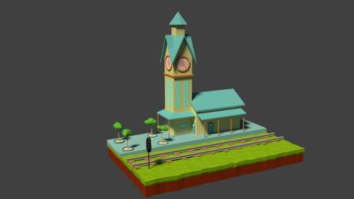 low poly small train station preview image