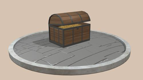 Wooden Chest LowPoly preview image