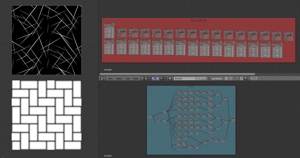 Tileable Scratches and Brick node setups. preview image 1