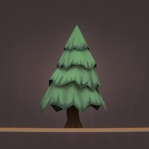 Low Poly Cartoon Tree - Painted preview image