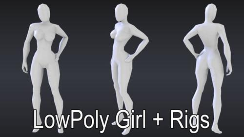 LowPoly Girl + Rigs preview image