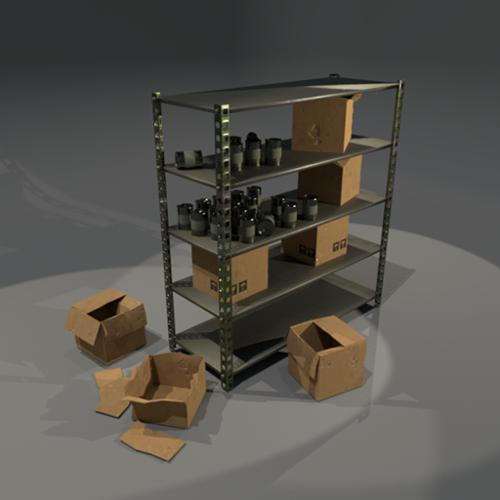Shelfs and cardboard boxes preview image