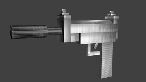 low-poly textured creative silencer pistol preview image