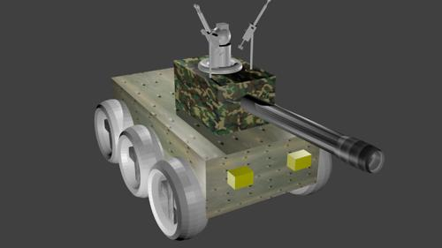 low-poly creative wheeled tank with commander (textured) preview image