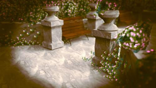 Park Scene Marble Vases Bench preview image