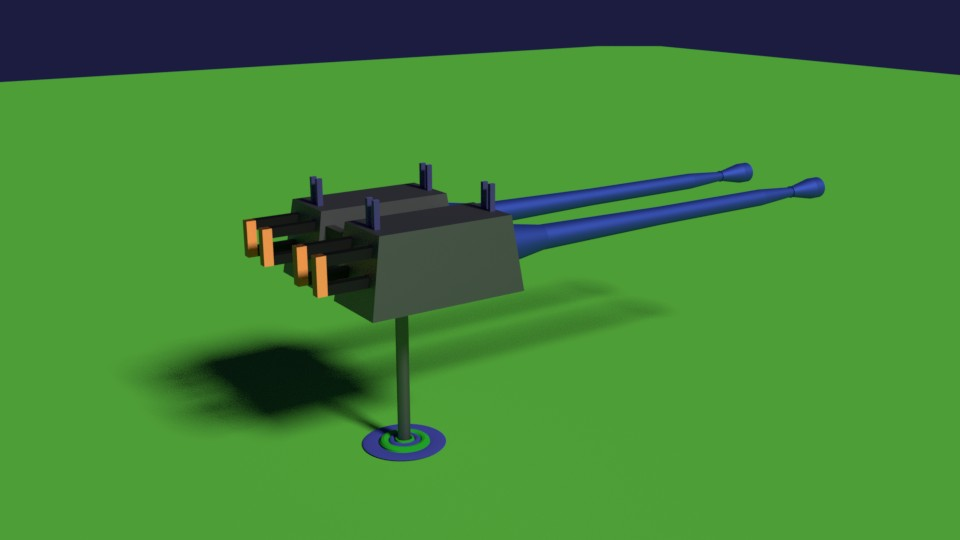 Twin Machine Gun Rendered In Cycles preview image 1
