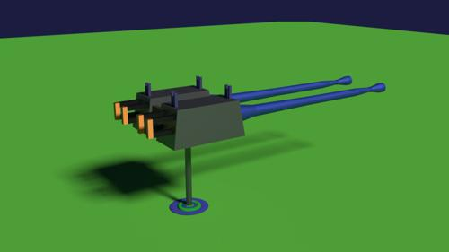 Twin Machine Gun Rendered In Cycles preview image