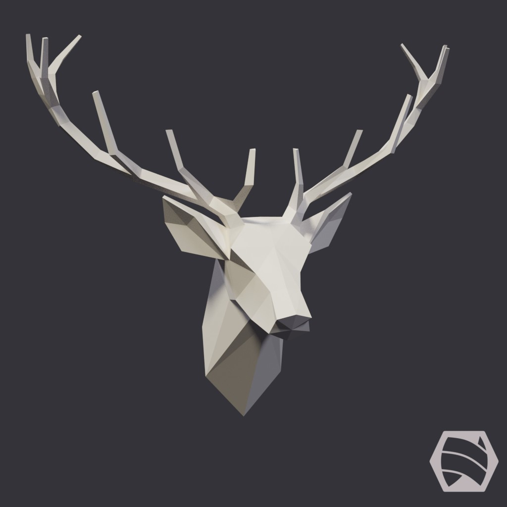 Stag Head - Low-Poly preview image 1