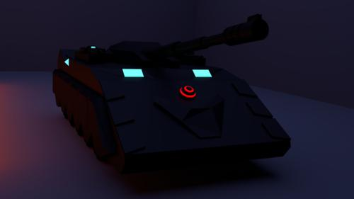 SciFi Tank Lowpoly preview image
