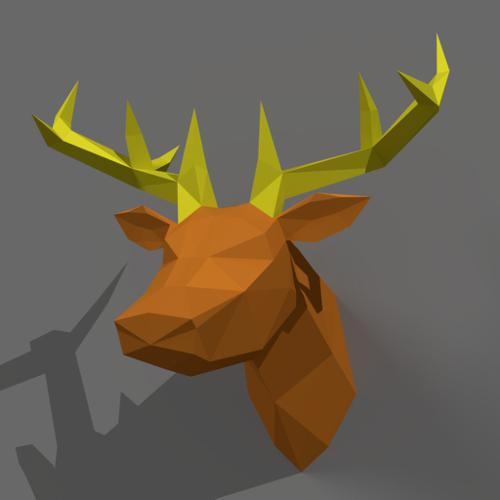 Deer statue  Low-Poly preview image