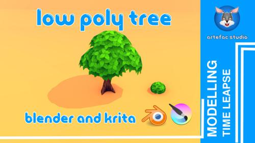 low poly tree for game asset preview image