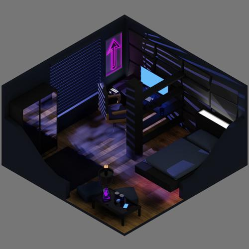 Isometric night scene preview image