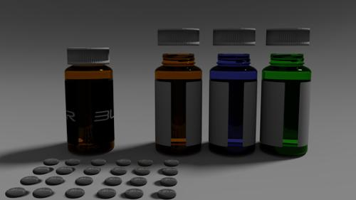 Medication bottle 3 sep. colors preview image