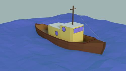 Low Poly boat preview image