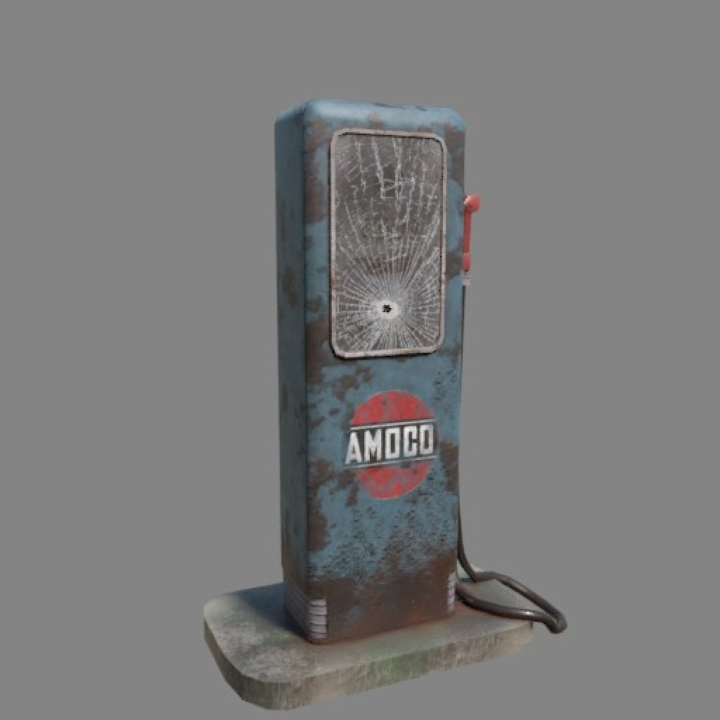Old gas pump (Game ready) preview image 1