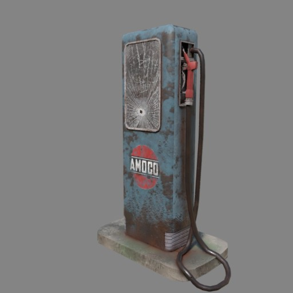Old gas pump (Game ready) preview image 2