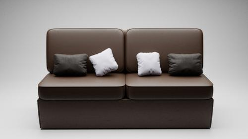 Armless Couch With Pillows preview image