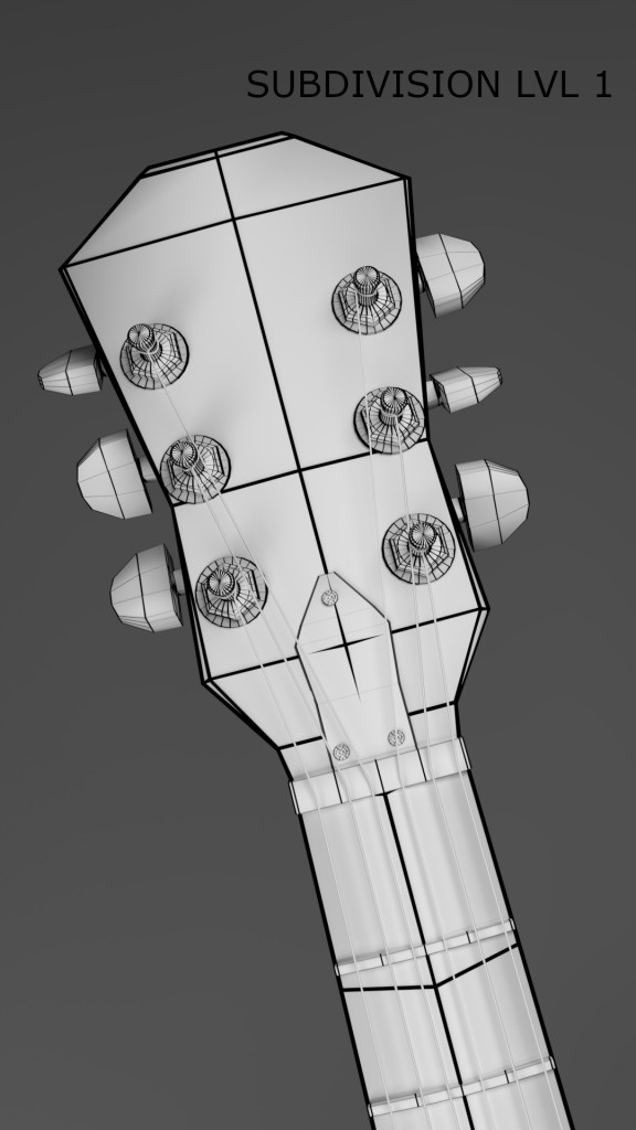 Stylised Gibson Es-335 3D model preview image 5