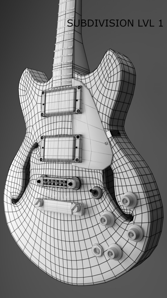 Stylised Gibson Es-335 3D model preview image 4