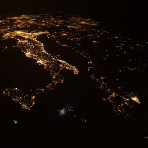 Western Europe To Arabian Peninsula at night preview image