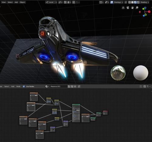 Intergalactic Spaceship in Blender 2.8 Eevee preview image