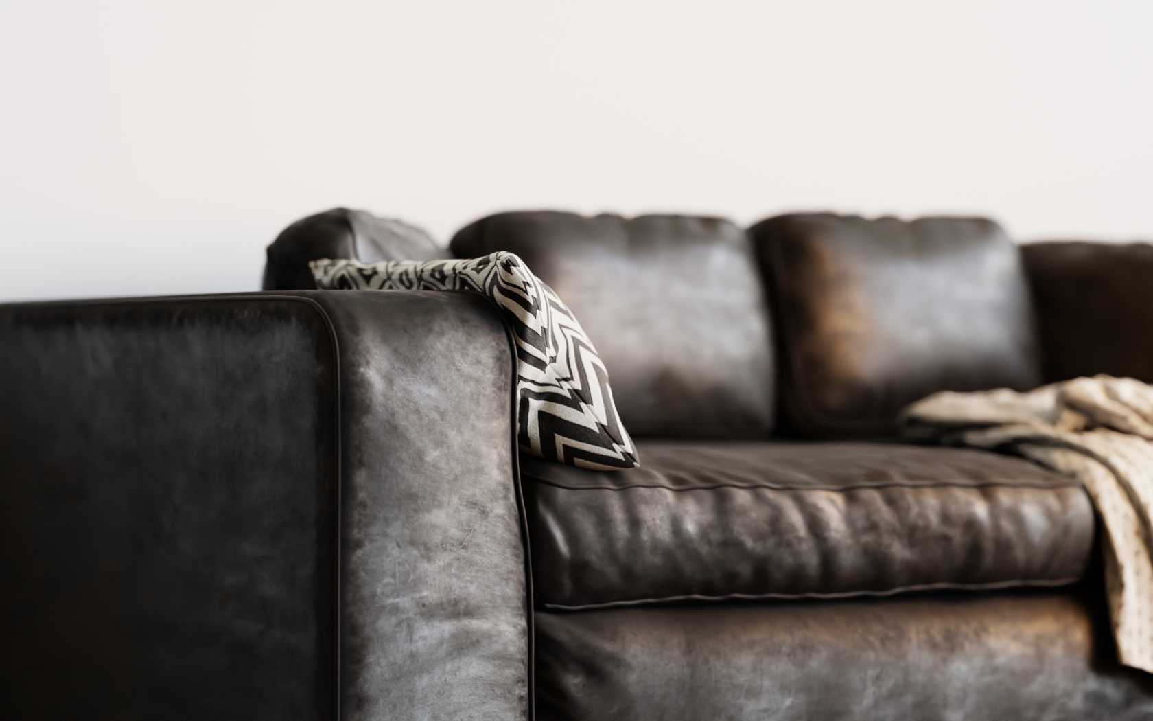 Leather Studio Sofa 3D model- EEVEE, Cycles preview image 2