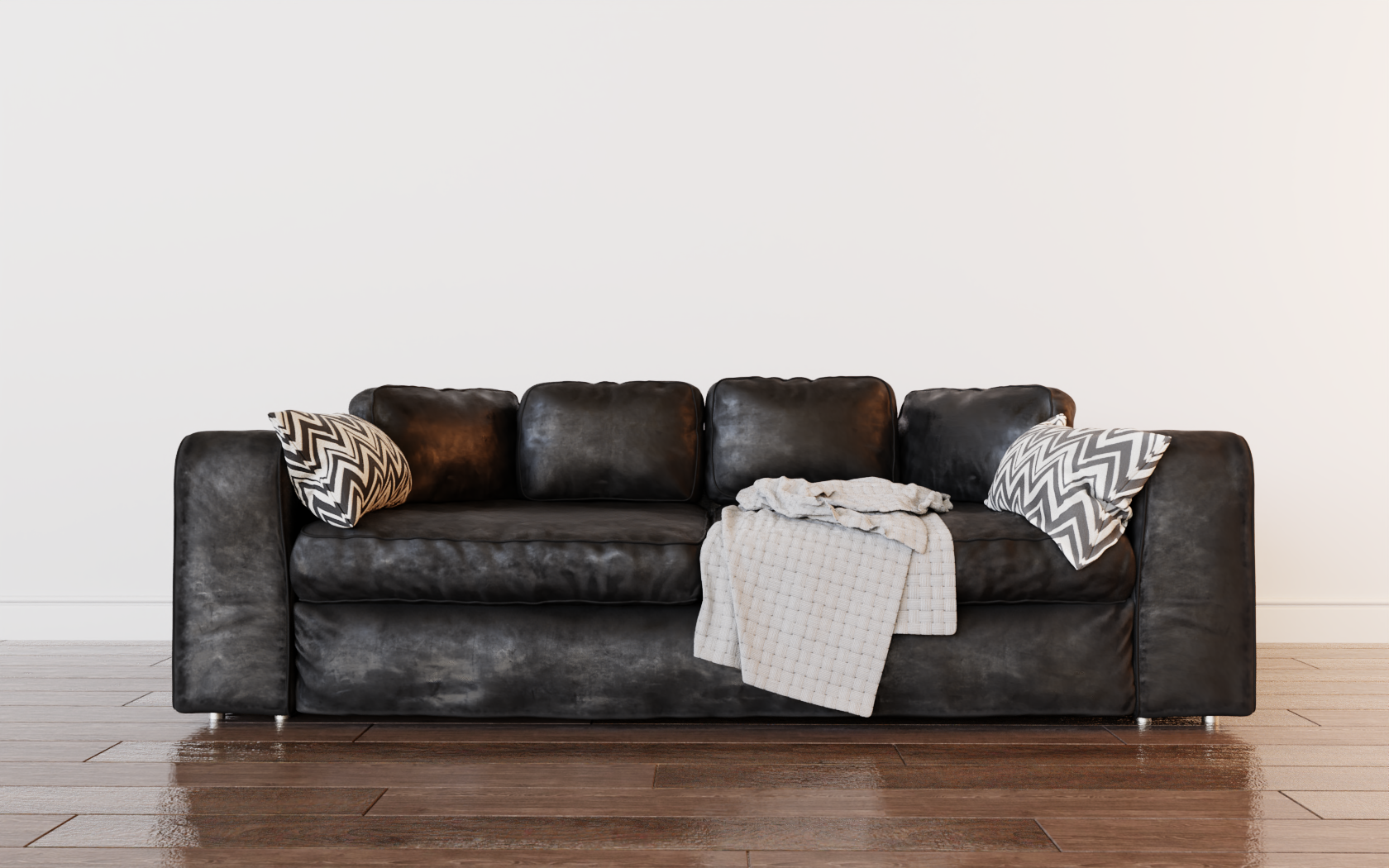 Leather Studio Sofa 3D model- EEVEE, Cycles preview image 3