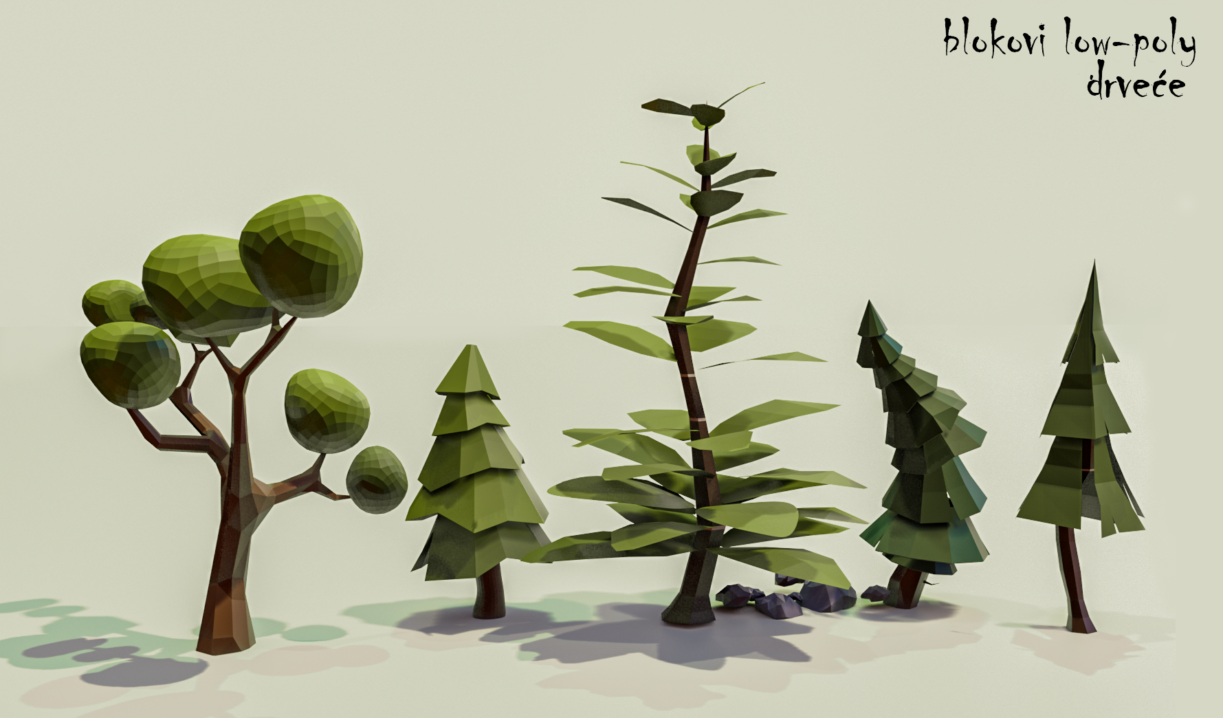 Low Poly trees pack preview image 1