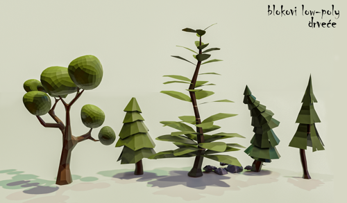 Low Poly trees pack preview image