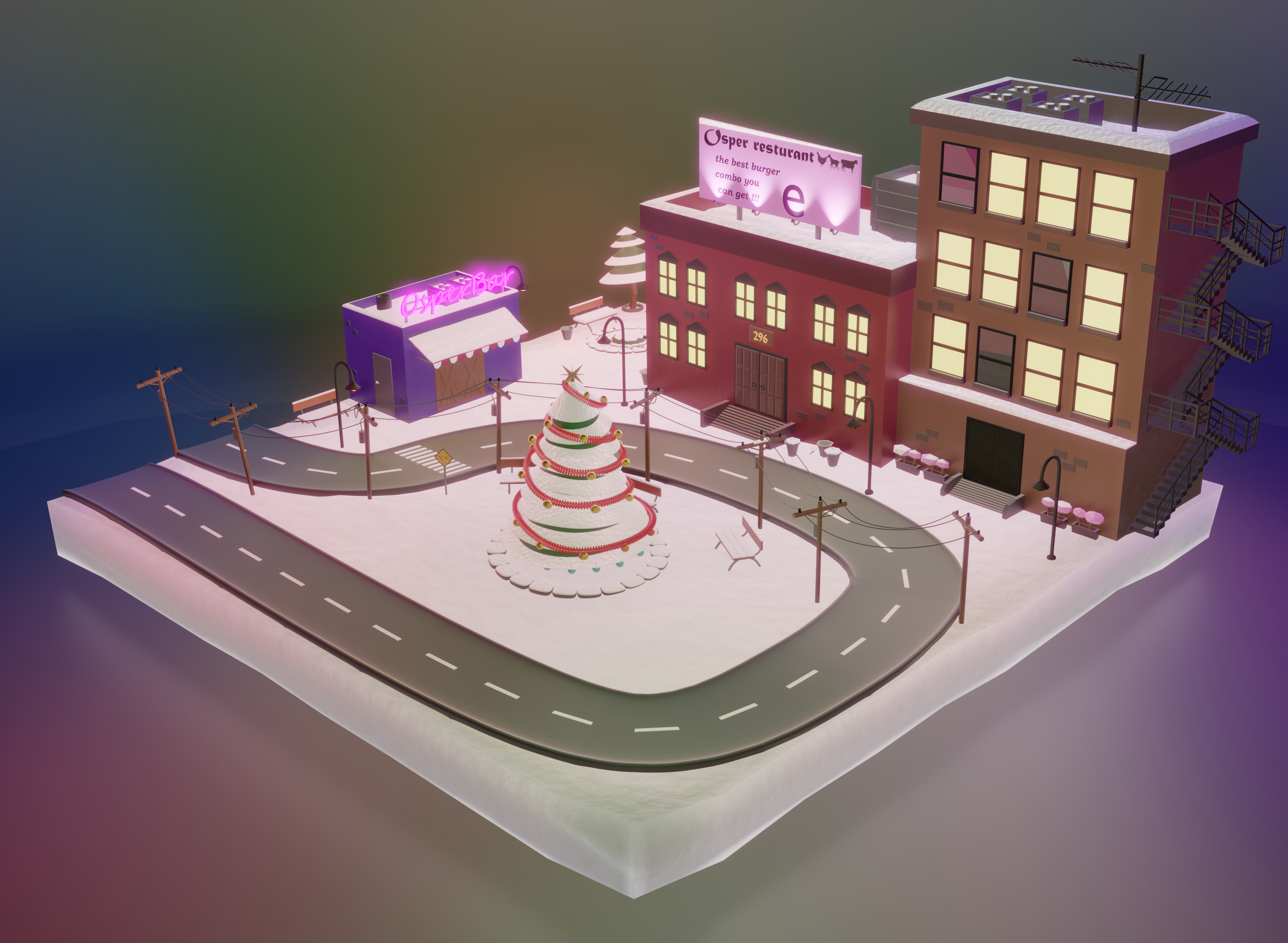 little city in Christmas evening  preview image 2