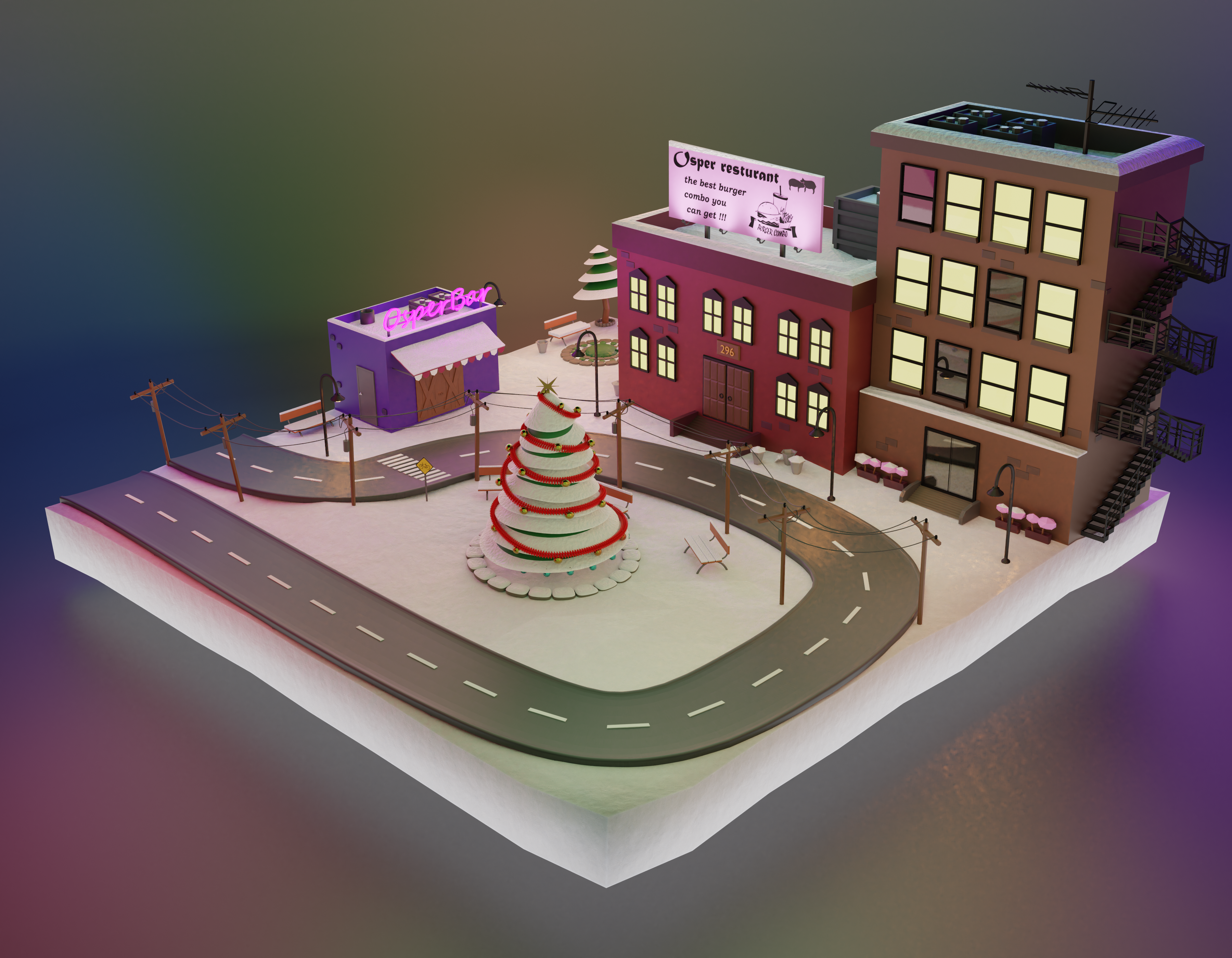 little city in Christmas evening  preview image 1
