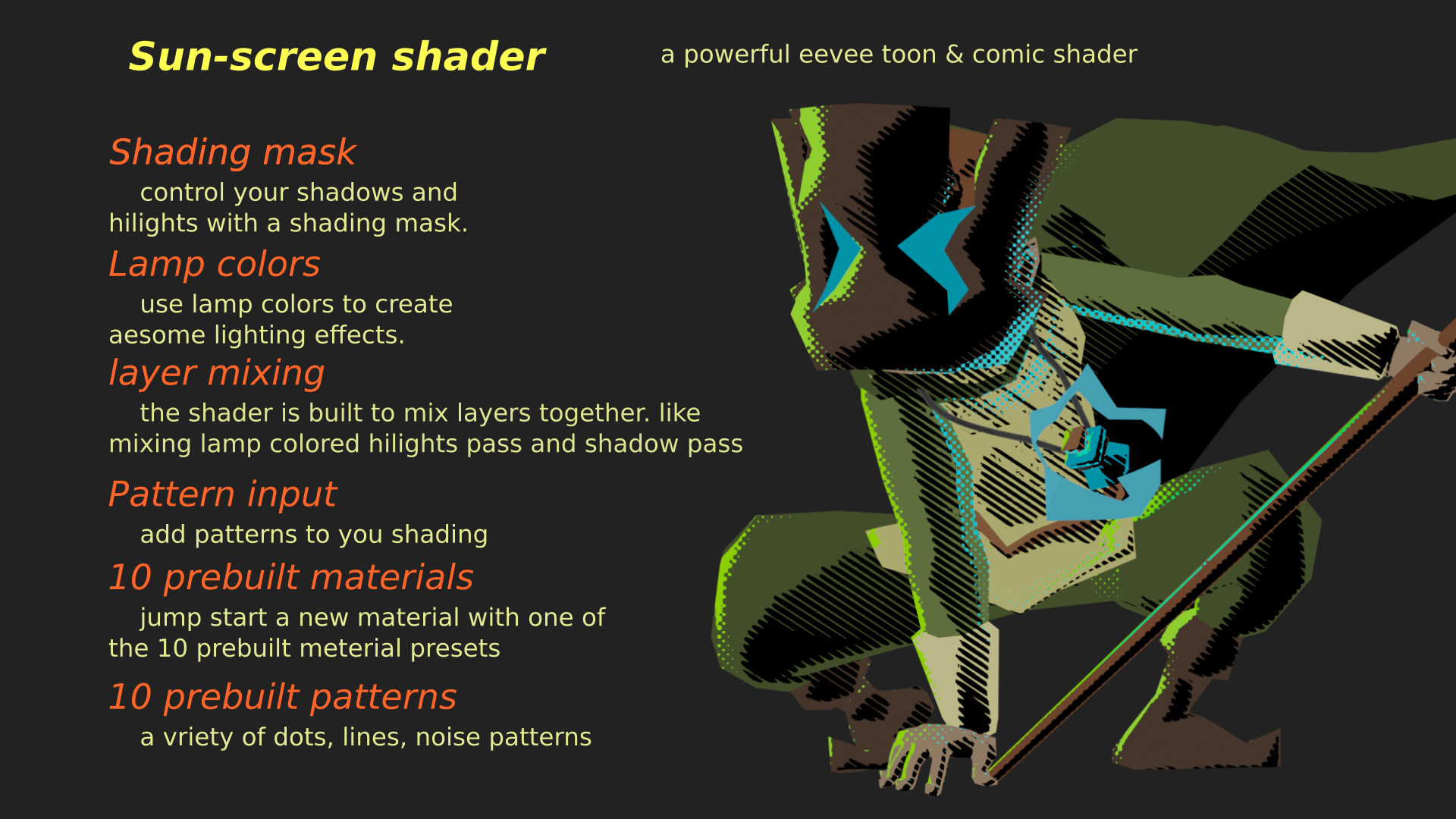 Sun-Screen EEVEE toon and comic shader preview image 7