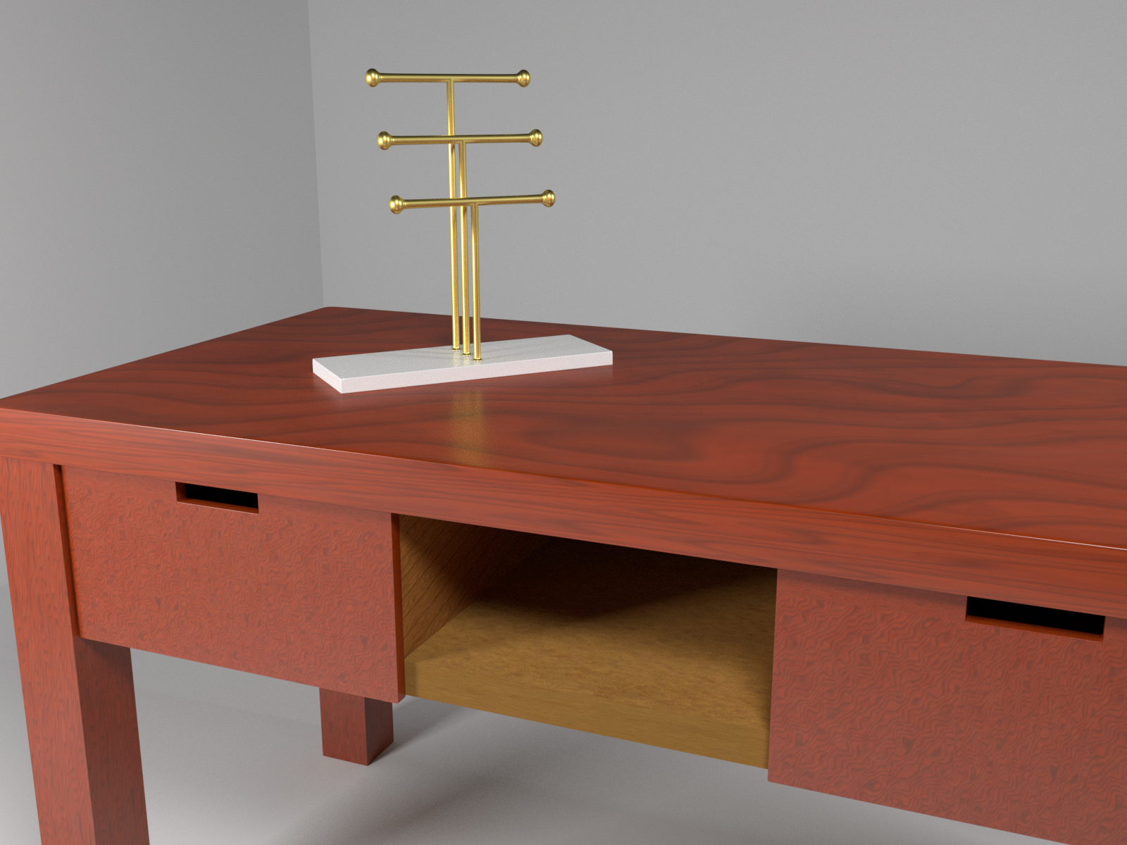 Golden jewelry holder on mahogany desk preview image 1
