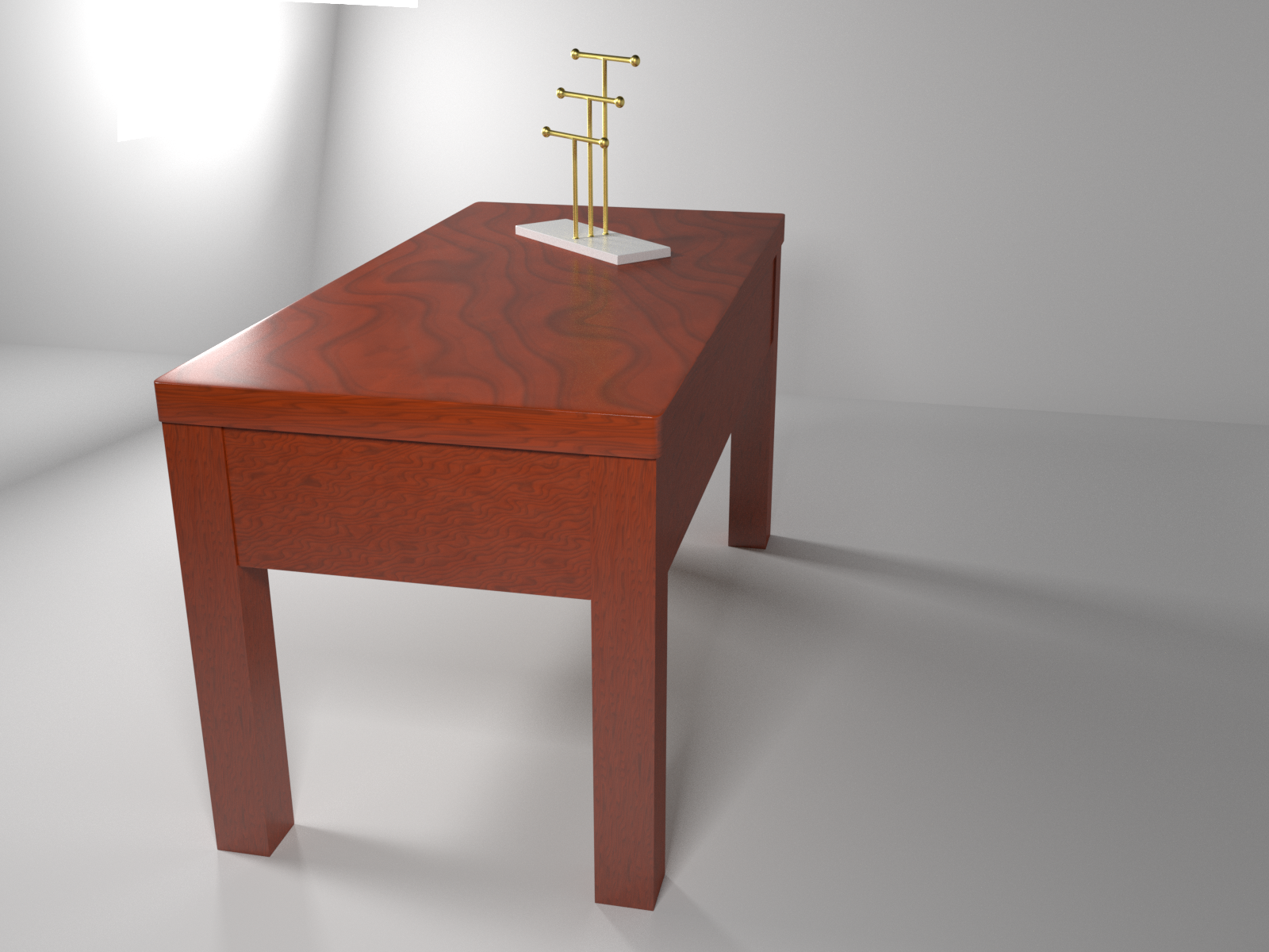 Golden jewelry holder on mahogany desk preview image 3