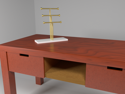 Golden jewelry holder on mahogany desk preview image