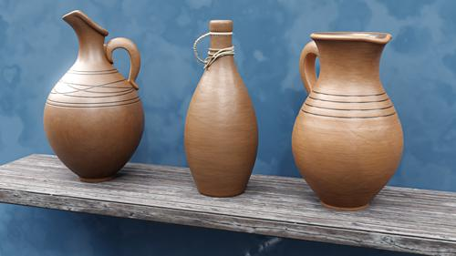 Set of 3 clay jugs preview image