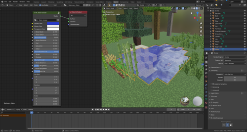 Minecraft Water shader and Test scene (For Blender 2.8x above) preview image
