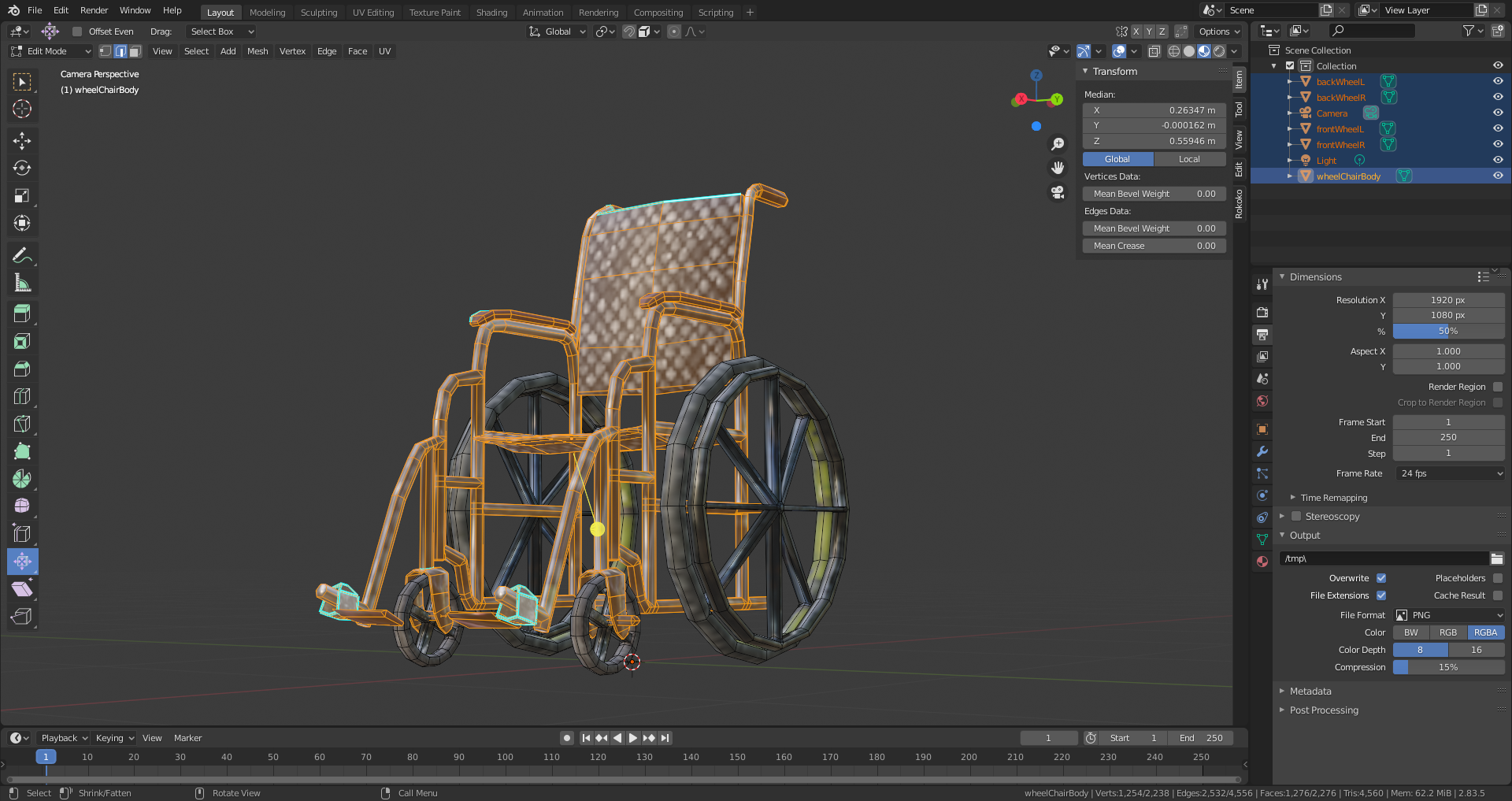 WheelChair (LOW-POLY) preview image 2