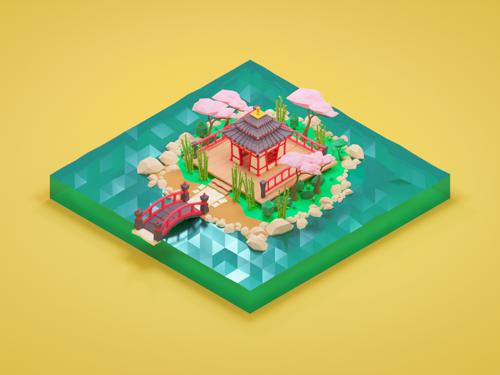 Low Poly Japanese Scene preview image